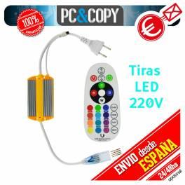 Controlador tiras LED RGB 220V mando distancia 24 botones impermeable IP65