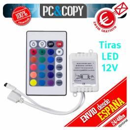 Controlador tiras LED RGB 12V mando IR 24 botones impermeable IP65