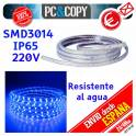 Pack 2M Tira LED Azul 220V IP65 Impermeable Luces cinta Flexible SDM3014