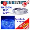 Pack 2M Tira LED Azul 220V IP65 Impermeable Luces cinta Flexible SDM3014