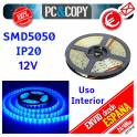 5M Tira LED Azul 12v 5050 14.4W/metro Luz Interior Luces Cinta Flexible SMD5050