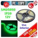 Tiras LED de color Verde 12v 5m IP20 Luz Interior Luces Cinta Flexible SMD5050