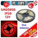 5M Tira LED Rojo 12v 5050 14.4W/metro Luz Interior Luces Cinta Flexible SMD5050