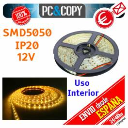 Tiras LED de color Azul 12v 5m IP20 Luz Interior Luces Cinta Flexible SMD5050