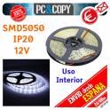 5M Tira LED Blanca 12v 5050 14.4W/metro Luz Interior Luces Flexible SMD5050