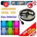 5M Tira LED RGB 12v SMD5050 Luces Interior Cinta Flexible 5050 Colores