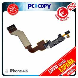 CABLE FLEX DOCK CONECTOR DATOS IPHONE 4S CARGA MICROFONO RECAMBIO IPHONE4S USB NEGRO