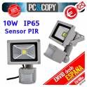 Foco Reflector Luz LED 10W PIR IP65 Impermeable sensor de movimiento