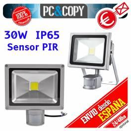 Foco Reflector LED 30W PIR sensor IP65 Impermeable con sensor de movimiento