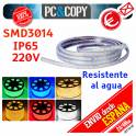 Tiras de LED 220V IP65 Impermeable Luces Cinta Flexible SMD3014 14.4W/metro