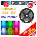 Tiras LED 12V IP20 5m Luces Uso Interior Cinta Flexible SMD5050 14.4W/metro