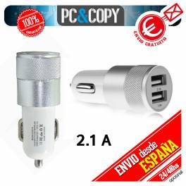 Cargador dual mechero de coche para movil tablet 2.1A-1A doble USB blanco 12-24v