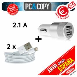 Cargador doble de coche + 2 cables para iphone 5 5S 6 iPad Air Mini USB blanco