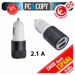 Cargador dual mechero de coche para movil tablet 2.1A-1A doble USB negro 12-24v