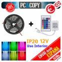 5M Tira LED RGB 12v SMD5050 + controlador + Mando Luces Interior Cinta Flexible 5050 Colores