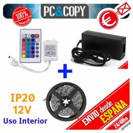 Tiras LED color RGB 12v 5m IP20 Luces Interior Cinta Flexible SMD5050