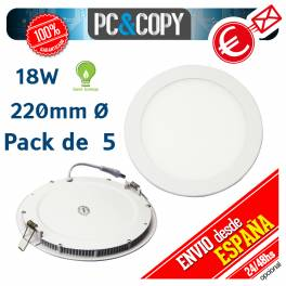 Downlight Panel LED 18W Techo Luz Blanca Redonda Fina Empotrable