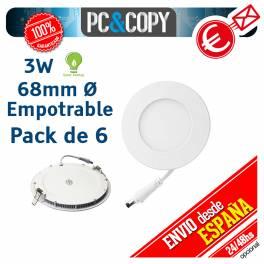 Downlight Panel LED 3W Techo Luz Blanca Redonda Fina Empotrable