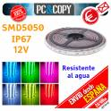 Tiras LED 12V IP67 impermeable Cinta Flexible 5m SMD5050 14.4W/metro