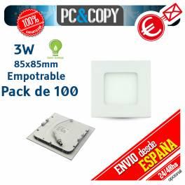 Downlight Panel LED 3W Techo Luz Blanca Cuadrada Fina Empotrable