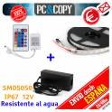 5M Tira LED RGB 12V IP67 + controlador + mando + alimentador SMD5050