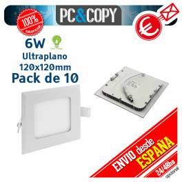 Downlight Panel LED 6W Techo Luz Blanca Cuadrada Fina Empotrable