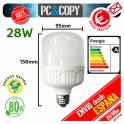 Bombilla LED E27 28W Luz Blanca 6500K Bajo Consumo Alto Brillo Flat
