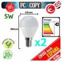 Pack 2 Bombilla LED E14 5W Luz Blanca 6500K Bajo Consumo Alto Brillo rosca fina