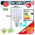 Pack 2 Bombilla Lampara LED E27 B22 5W Luz Blanca 6500K Bajo Consumo Alto Brillo Flat