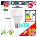 Pack 10 Bombillas Lampara LED E27 B22 9W Luz Blanca 6500K Bajo Consumo Alto Brillo Esférica