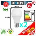 Pack 2 Bombilla Lampara LED E27 B22 9W Luz Blanca 6500K Bajo Consumo Alto Brillo Esférica