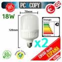 Pack 2 Bombilla LED E27 B22 18W Luz Blanca 6500K Bajo Consumo Alto Brillo Flat