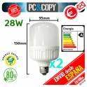 Pack 2 Bombilla LED E27 28W Luz Blanca 6500K Bajo Consumo Alto Brillo Flat