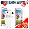 Funda hibrida TPU marco colores con cristal templado para Galaxy S4 GT-I9500-GT-I9505