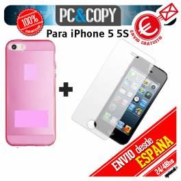 Funda gel TPU flexible transparente con cristal templado para iphone 5 5S . Ultra-thin cover iPhone