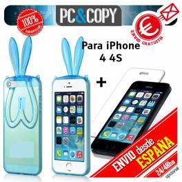 Funda gel TPU flexible transparente con cristal templado para iphone 4 4S. Bunny orejas conejo colores