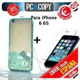 Bumper funda gel TPU flexible transparente con cristal templado para iPhone 6/6S Hello Kitty colores