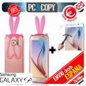 Funda gel TPU orejas conejo con cristal templado para Galaxy S6 SM-G920F Bunny plegar colores