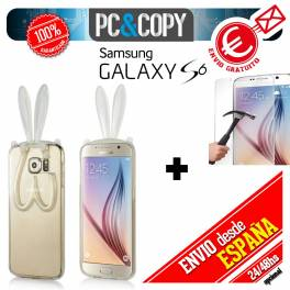 Funda gel TPU flexible transparente para Galaxy S6. Bunny orejas conejo colores