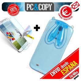 Funda gel TPU flexible transparente para Galaxy S4. Bunny orejas conejo colores