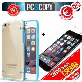 Funda hibrida con marco colores con cristal templado para iphone 4 4S