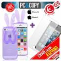 Funda gel orejas conejo con cristal templado para iphone 5 5S Bunny orejas conejo colores