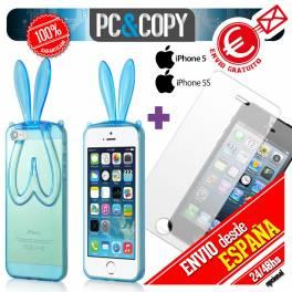 Funda gel TPU flexible transparente para iphone 5. Bunny orejas conejo colores