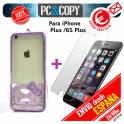 Bumper funda gel Hello Kitty con cristal templado para iPhone 6 y 6S plus colores transparente
