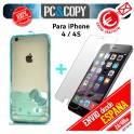 Funda gel Hello Kitty transparente con cristal templado para iPhone 4/4S colores