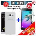 Funda gel TPU con cristal templado SAMSUNG Galaxy J3 J310 J3 (2016) flexible 100% transparente