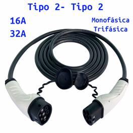 Cable de Carga para Coches Eléctricos Tipo 2 a Tipo 2 16A/32A Monofśico/Trifásico