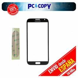 CRISTAL PANTALLA TACTIL SAMSUNG GALAXY NOTE 2 N7100 NEGRO CON ADHESIVOS NOTE II