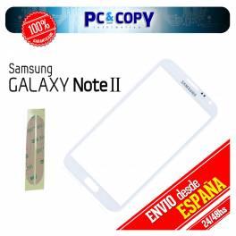 CRISTAL PANTALLA TACTIL SAMSUNG GALAXY NOTE 2 N7100 BLANCO CON ADHESIVOS NOTE II