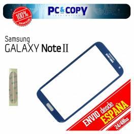 CRISTAL PANTALLA TACTIL SAMSUNG GALAXY NOTE 2 N7100 AZUL CON ADHESIVOS NOTE II
